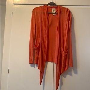 Lightweight coral colored cardigan